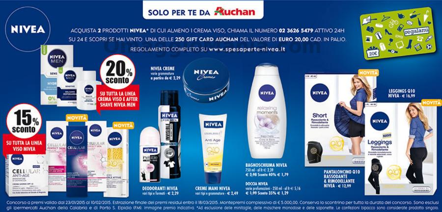 vinci gift card Auchan con Nivea
