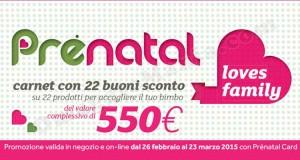 buoni sconto Prénatal Loves Family 2015