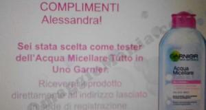 complimenti test Acqua Micellare Garnier di Alessandra