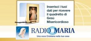 quadretto Gesù Misericordioso omaggio da Radio Maria