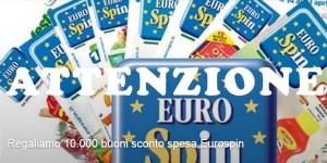 attenzione buoni sconto spesa Eurospin
