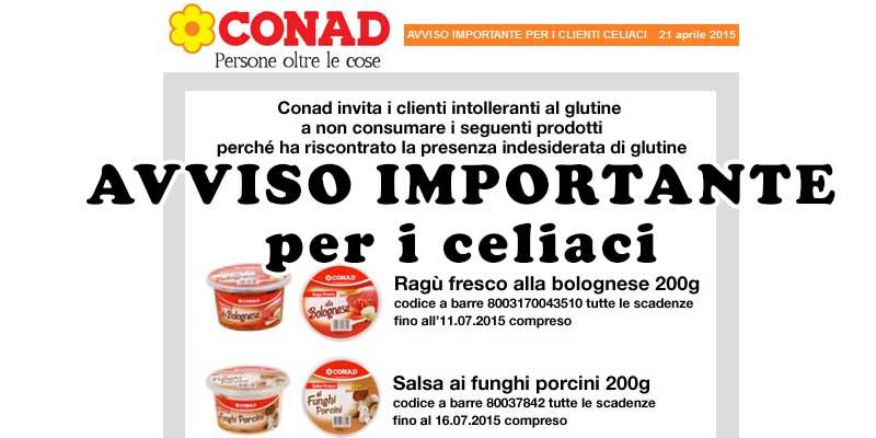 avviso importante per i celiaci Conad