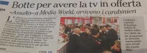 copertina giornali botte per TV Mediaworld