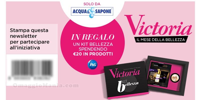 kit bellezza Victoria in omaggio da Acqua & Sapone