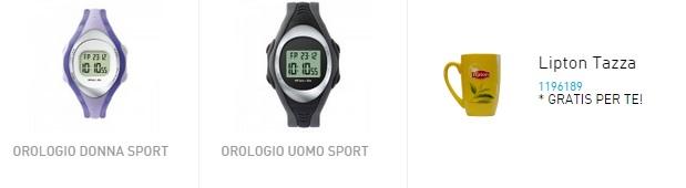 orologi sport e tazza Lipton omaggio