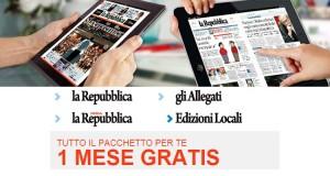 un mese gratis abbonamento La Repubblica