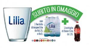 bicchiere omaggio con Acqua Lilia e Coca Cola