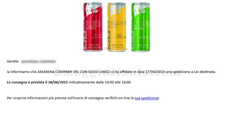 email Bartolini - lattine Red Bull in arrivo
