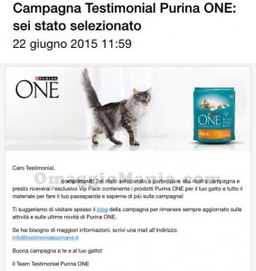 email test Purina One Adult ricevuta da Michela