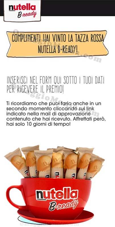 vincita tazza Nutella B-Ready Giusy
