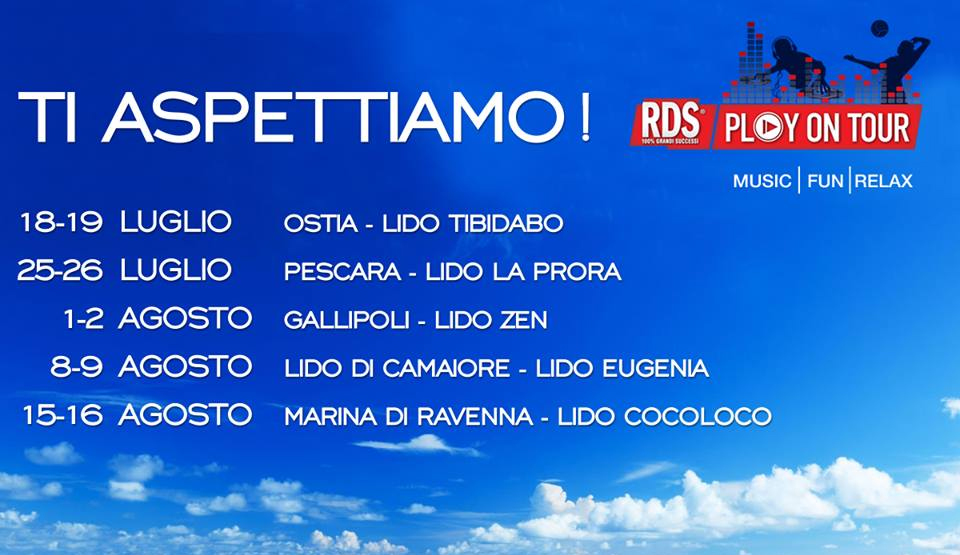 date RDS Play on Tour campioni omaggio Rilastil