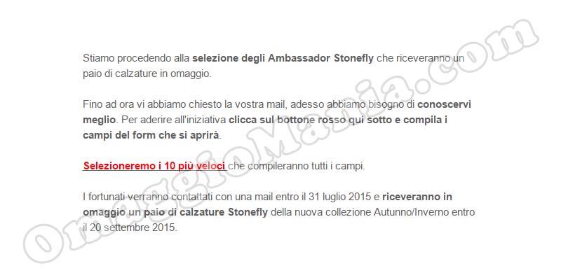 email selezione scarpe omaggio Stonefly