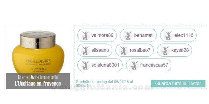 lista tester Crema Divine Immortelle L'Occitane en Provence
