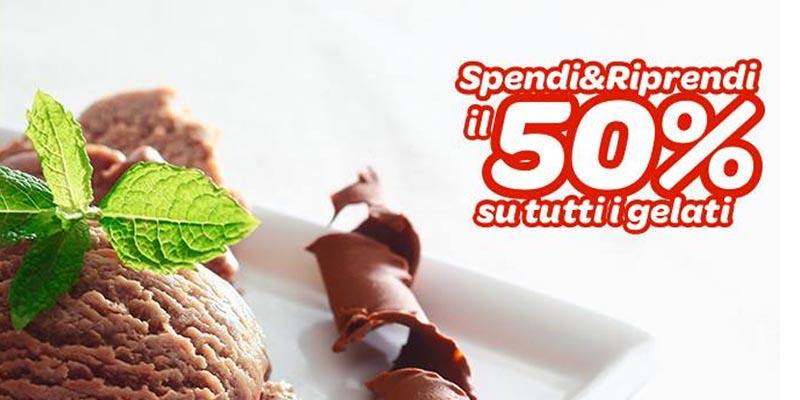 spendi e riprendi il 50% su tutti i gelati Carrefour