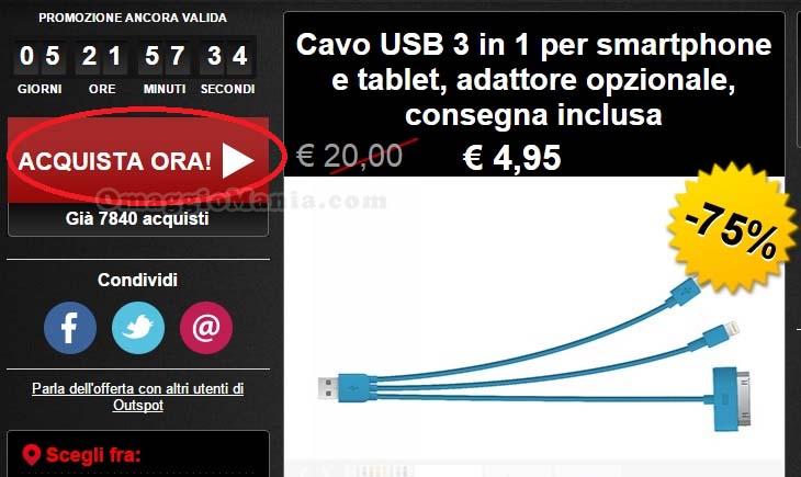 cavo USB 3 in 1 step 1