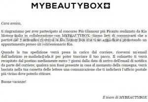 email di conferma KIA Luxury Box di Nadia