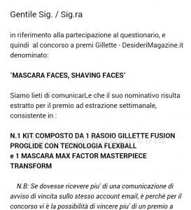email vincita concorso Desideri Magazine ricevuta da Sabry77