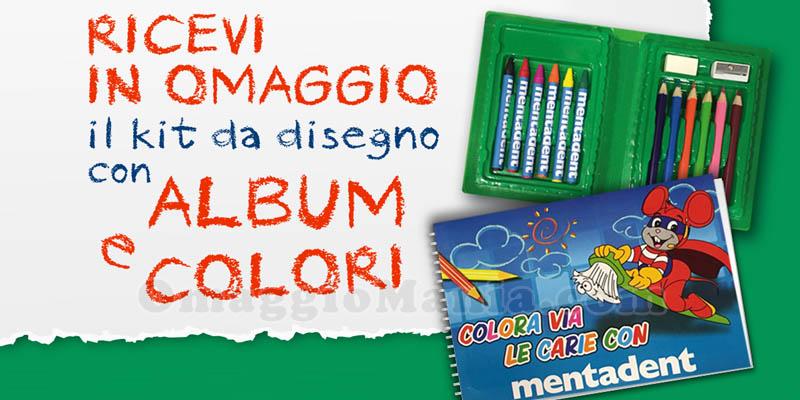 kit da disegno con album e colori omaggio da Mentadent