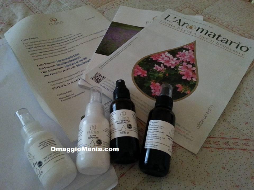 kit di prodotti Flora ricevuto da Tiziana