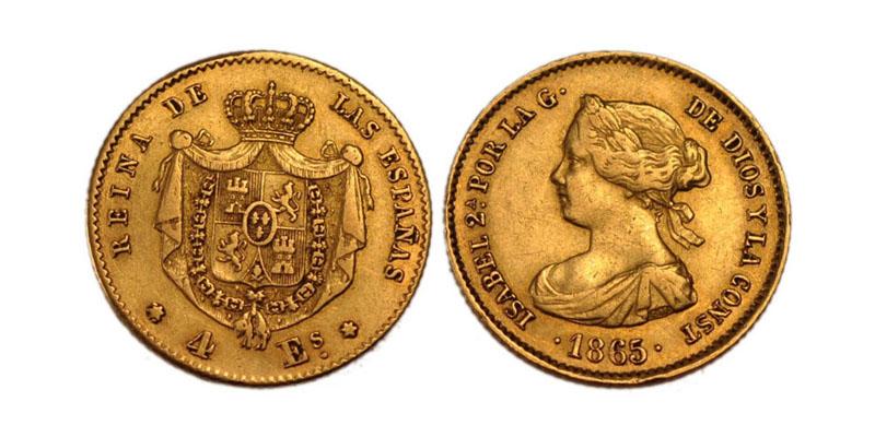 moneta d'oro spagnola del 1865