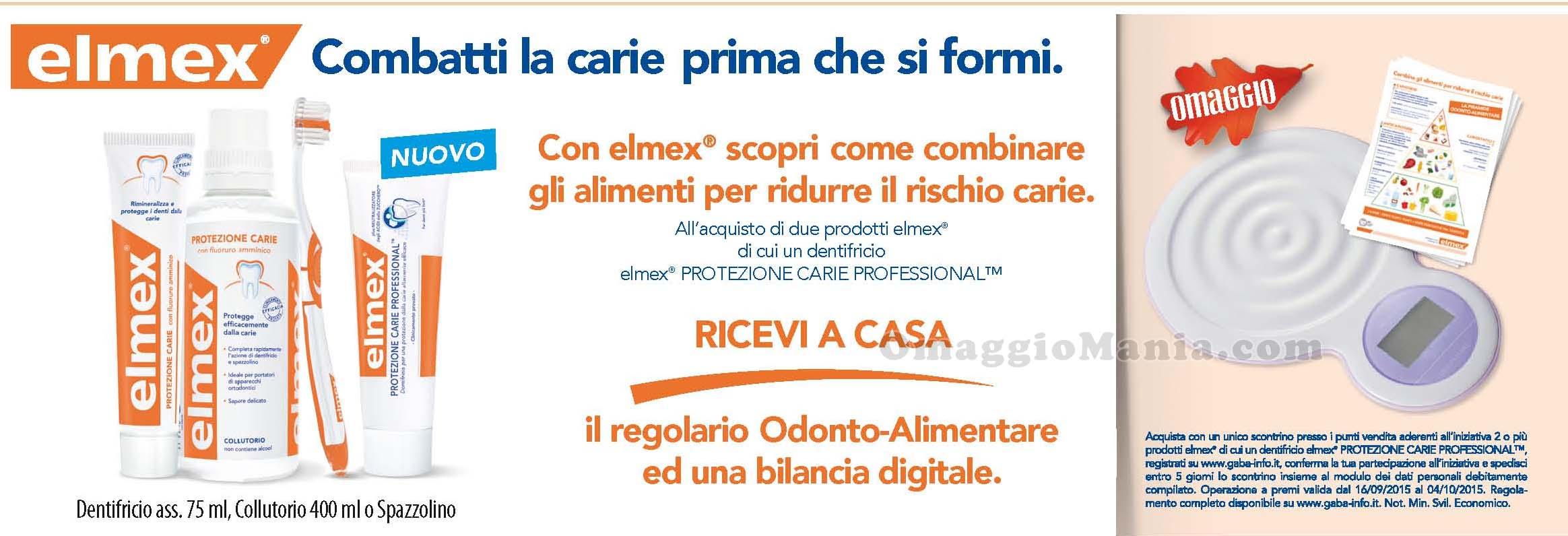 bilancia digitale e regolario in omaggio con Elmex e Acqua&Sapone