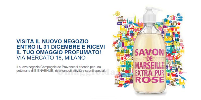 omaggio profumato negozio Compagnie de Provence a Milano