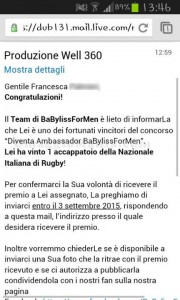vincita accapatoio Nazionale Italiana di Rugby di Francesca