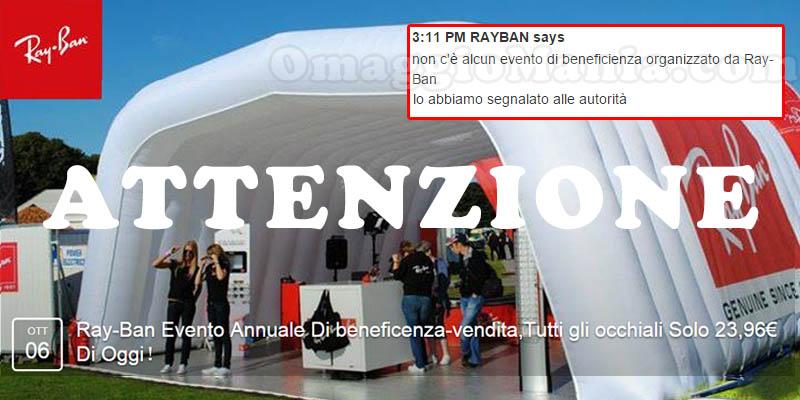 attenzione all'evento di beneficenza RayBan