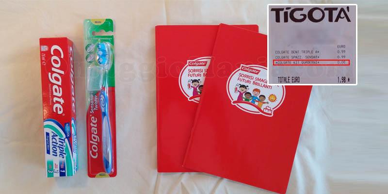 buoni spesa e quaderni omaggio Colgate da Tigotà