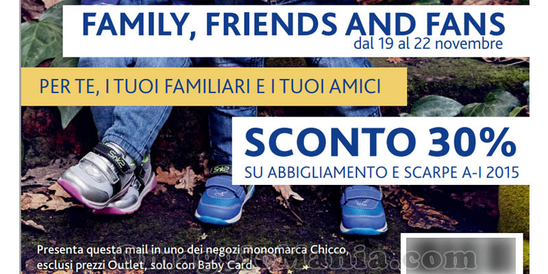 buono sconto Chicco Family, friends and fans