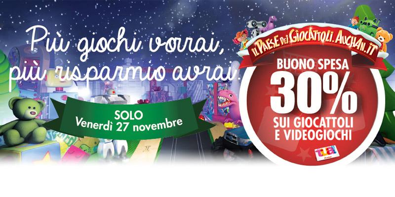 buono spesa Auchan giocattoli e videogiochi 27 novembre 2015
