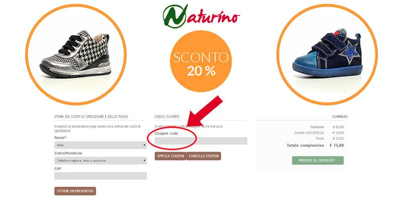codice sconto Naturino 20%