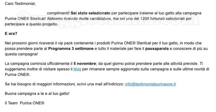 email selezione Purina One Sterilcat ricevuta da Tataa