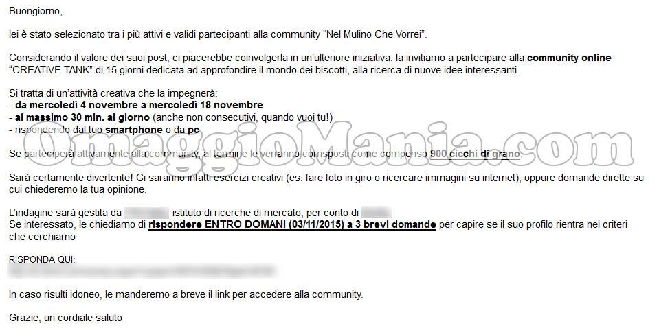 invito Creative Tank 900 chicchi Mulino Bianco