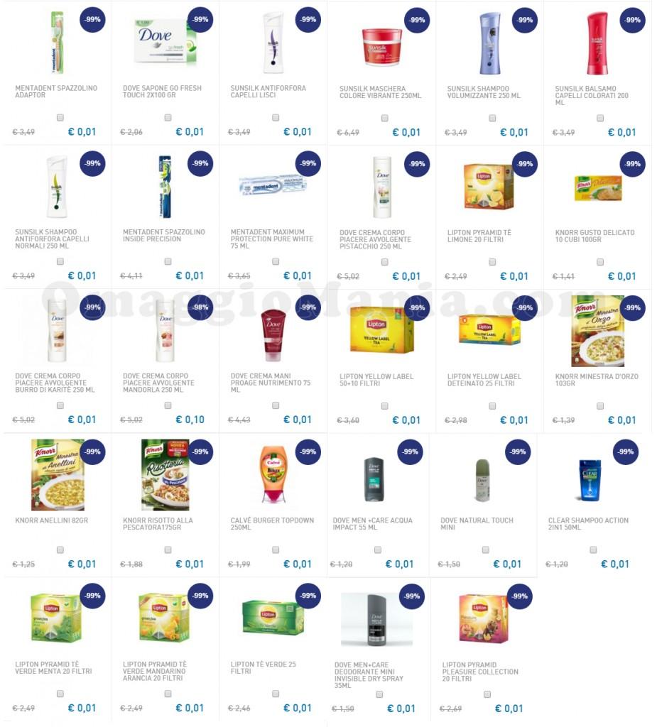 lista prodotti Unilever a 1 centesimo