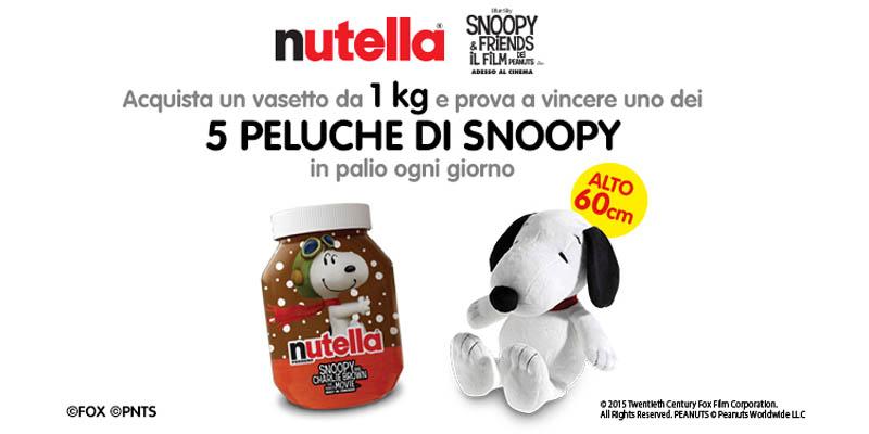 vinci peluche Snoopy&Friends con Nutella