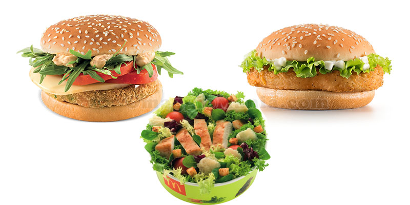 McDonald's McVeggie, McChicken e mix salad