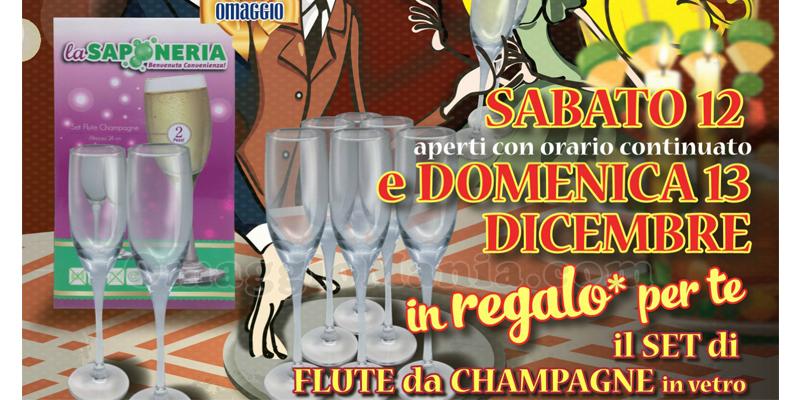 flute da champagne omaggio con La Saponeria