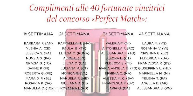 lista 40 vincitrici concorso Perfect Match Clarins
