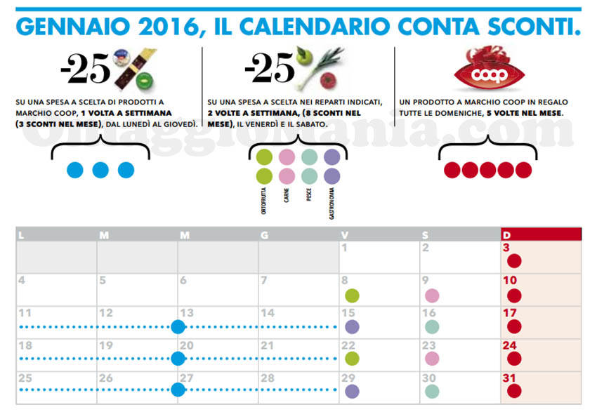 calendario Conta Sconti Alleanza 3.0 Coop gennaio 2016