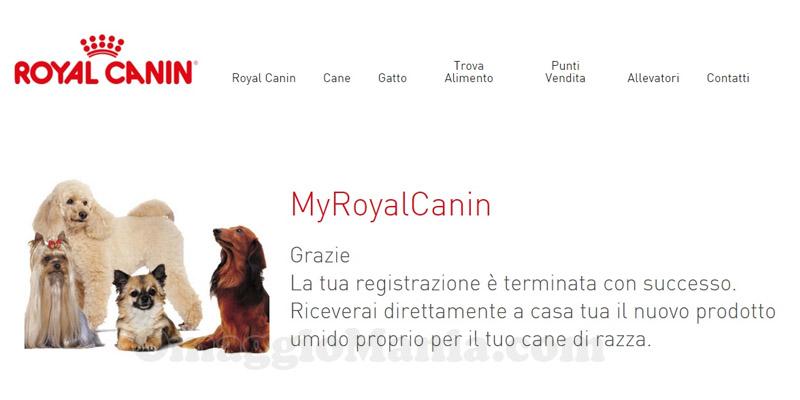 conferma prodotto omaggio Royal Canin