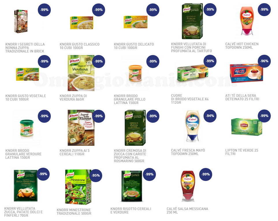 prodotti Unilever a 1 centesimo lista gennaio 2016