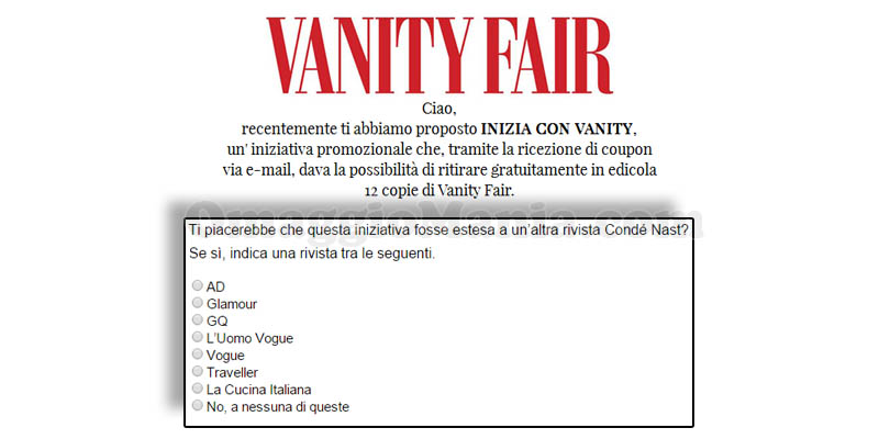 questionario Inizia con Vanity Fair altre riviste