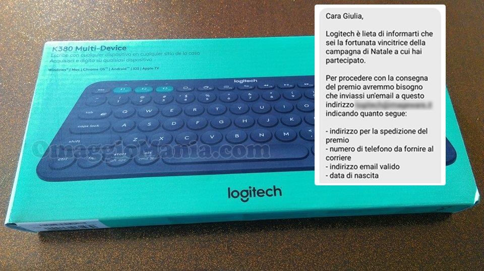 tastiera Logitech vinta e ricevuta da Giulia