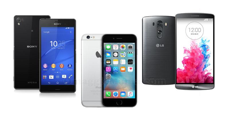 Iphone6, Sony Z3, LG G3
