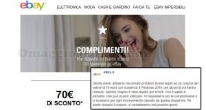 buono sconto eBay 70 euro errore