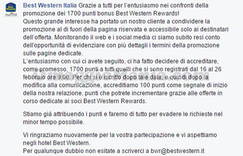comunicato ufficiale Best Western 29-02-2016