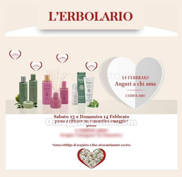 email L'Erbolario romantico omaggio San Valentino 2016