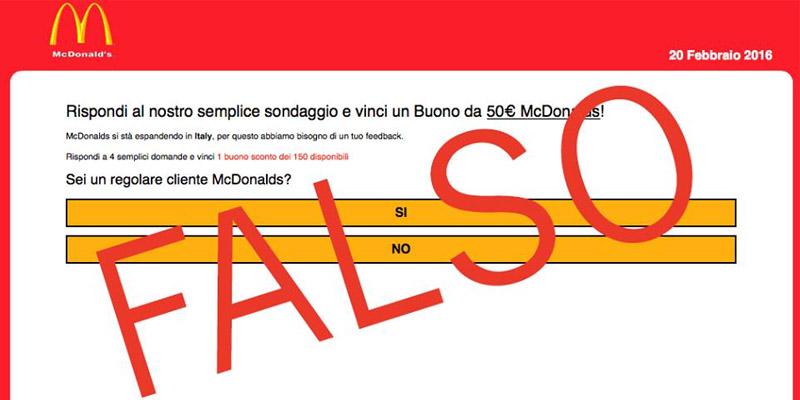 falso sondaggio McDonald's