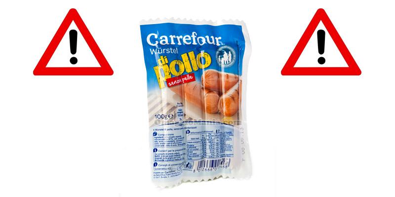 würstel di pollo Fratelli Beretta ritirati da Carrefour